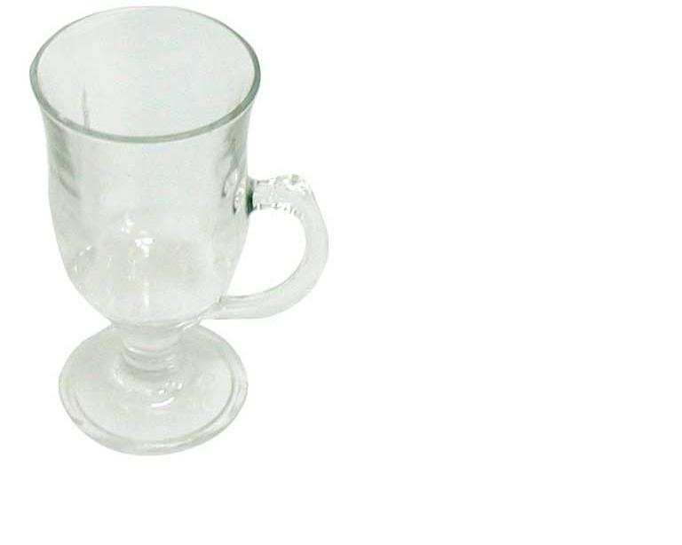 כוס זכוכית עם ידית לשתיה חמה