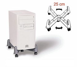 מעמד אנכי פלסטיק למחשב+גלגלים
